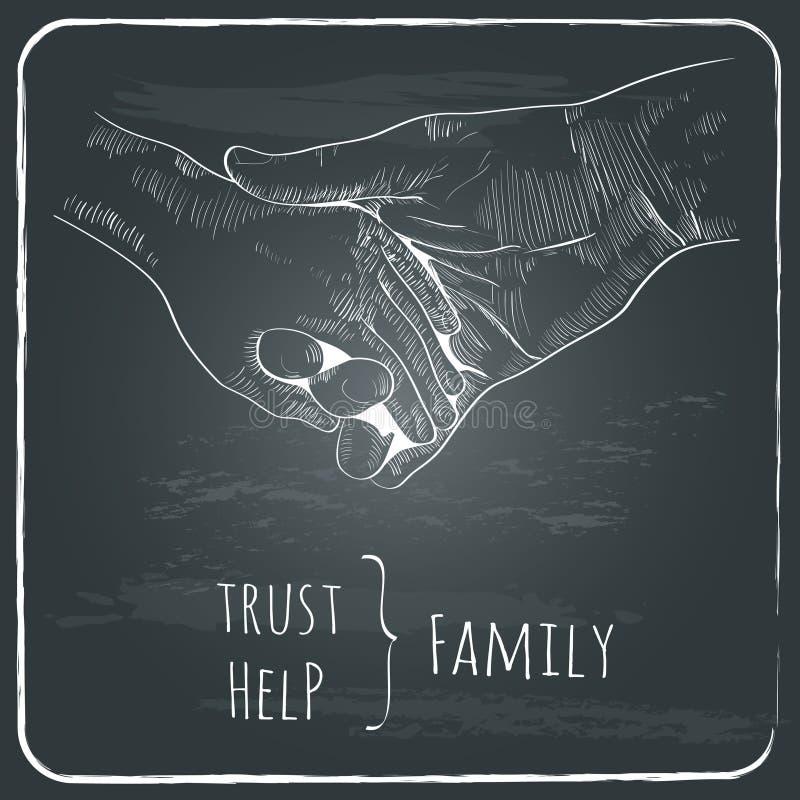 Ventaja de la mano de los padres su niño, concepto de familia de la confianza ilustración del vector