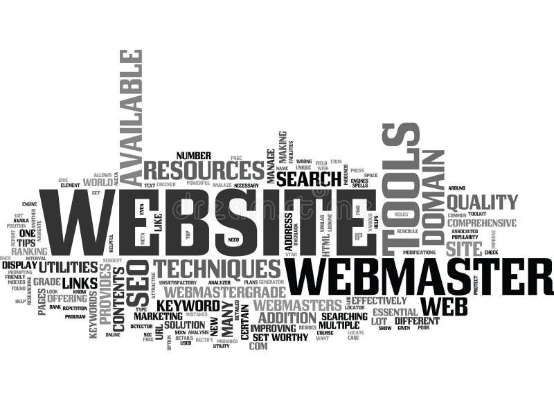 Ventajas de la nube de la palabra de Toolkit And Resources del Webmaster ilustración del vector