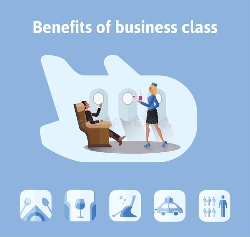 Ventajas de vuelos en clase de negocios Hombre de negocios respetable que se sienta en asiento del aeroplano, la azafata que le t libre illustration
