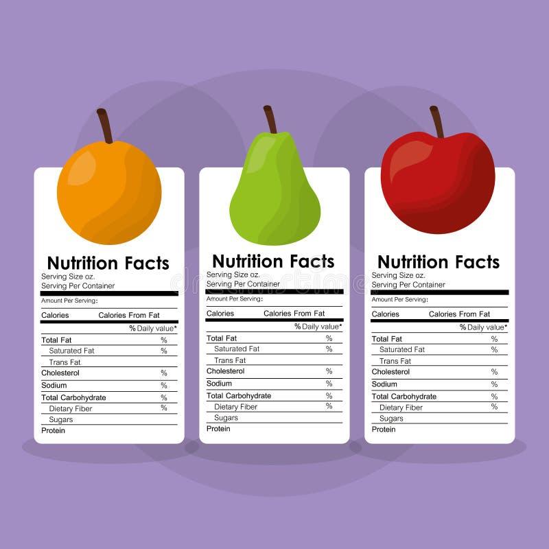 Ventajas sanas de la etiqueta de los hechos de la nutrición de la comida de las frutas ilustración del vector