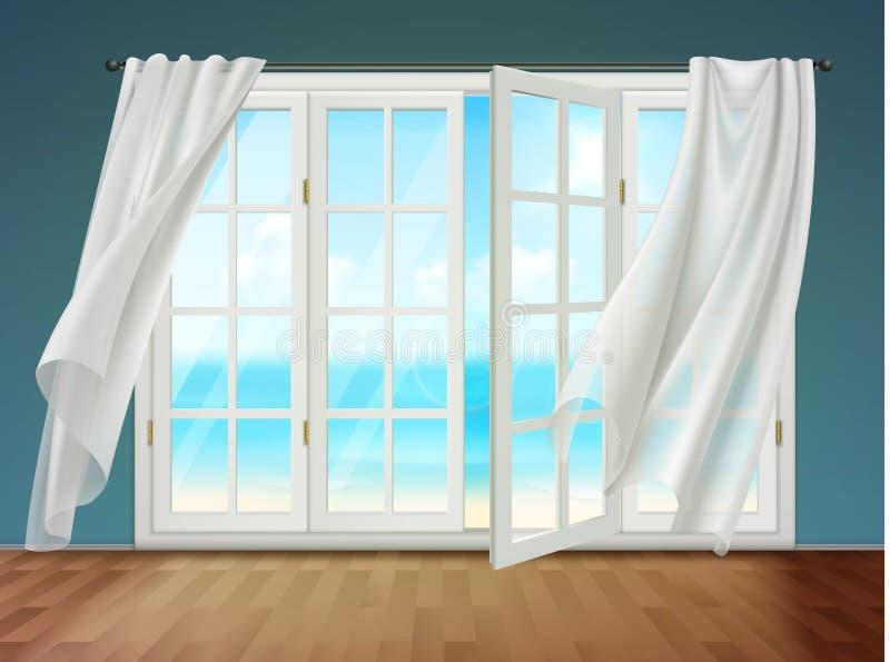 Ventana abierta con las cortinas que agitan ilustración del vector
