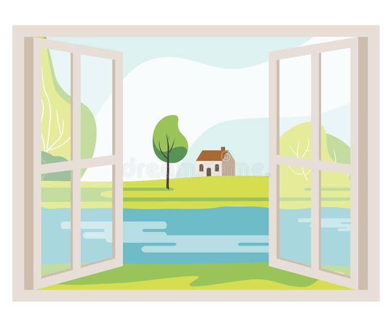 Ventana abierta con una opinión del paisaje stock de ilustración