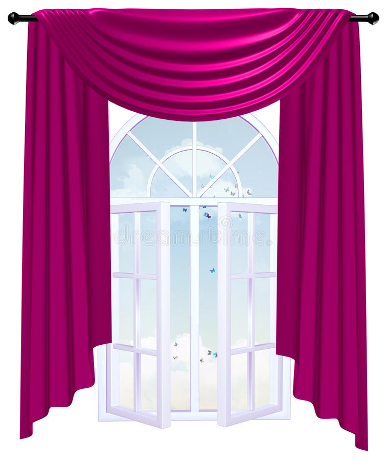 Ventana abierta detrás de una cortina de Borgoña con el cielo y las nubes ilustración del vector