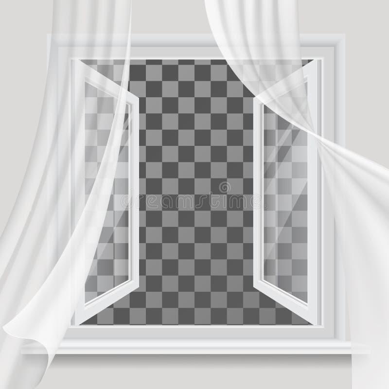 Ventana abierta y cortina transparente que agita libre illustration