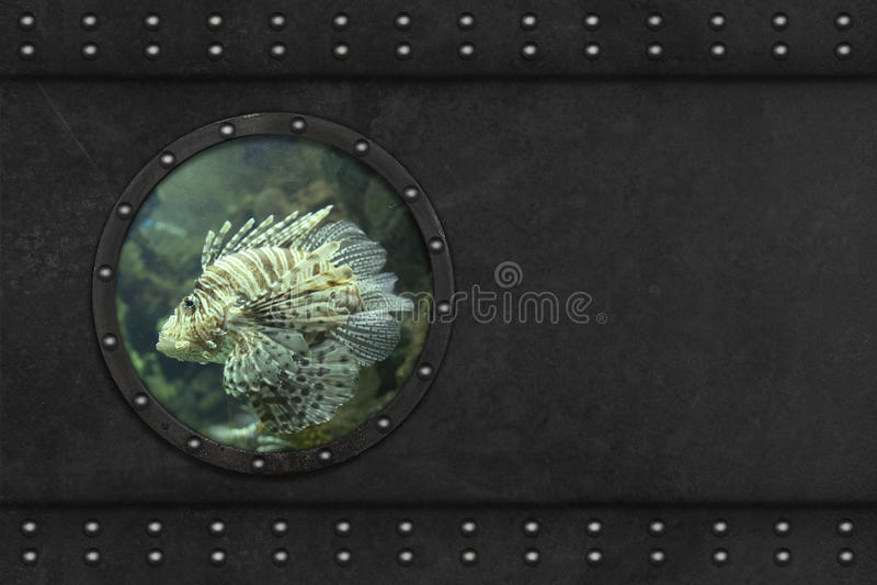 Ventana acorazada submarina stock de ilustración