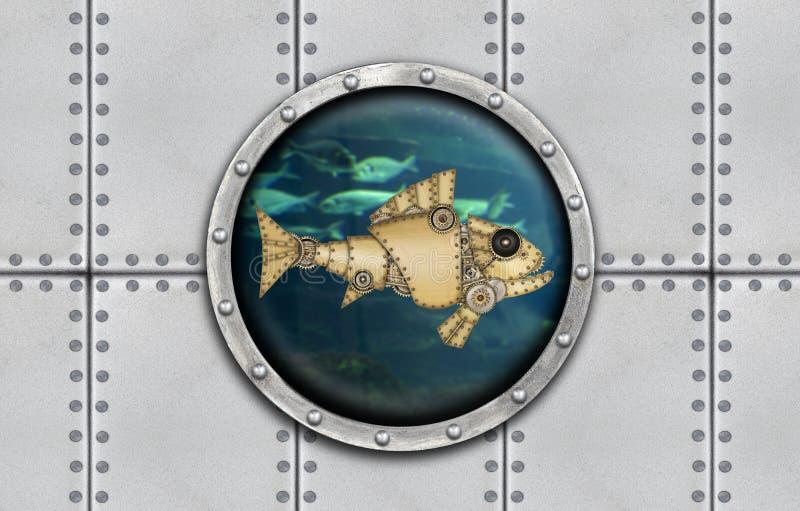 Ventana acorazada submarina fotos de archivo