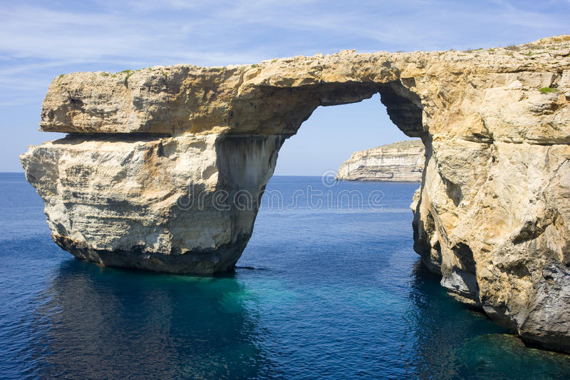 Ventana azul, isla de Gozo, Malta. fotos de archivo libres de regalías