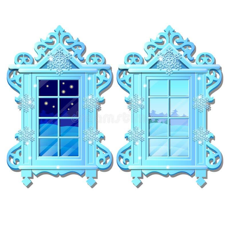 Ventana casera interior acogedora Opinión de la tarde y de la mañana de la ventana de la nieve al aire libre del invierno aislada stock de ilustración