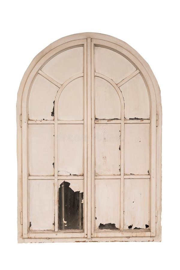 Ventana cerrada blanca de madera vieja aislada en el fondo blanco trayectoria ahorrada foto de archivo libre de regalías