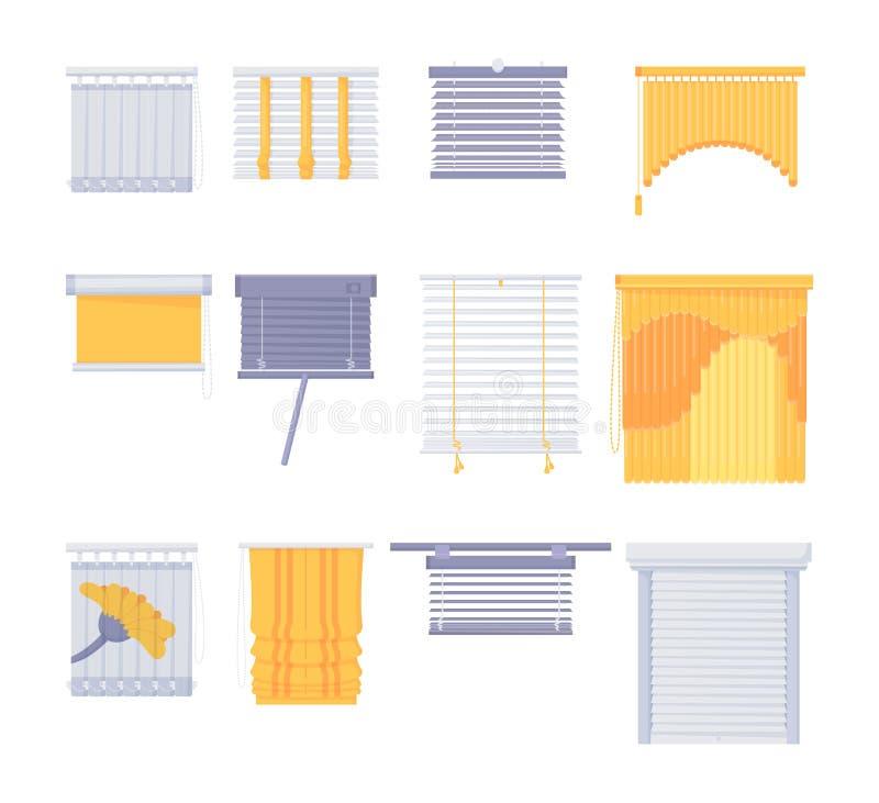 Ventana ciega conjunto horizontal vertical cerrado abierto ilustración del vector
