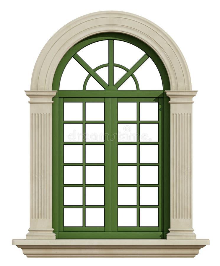 Ventana clásica del arco con el marco de piedra stock de ilustración