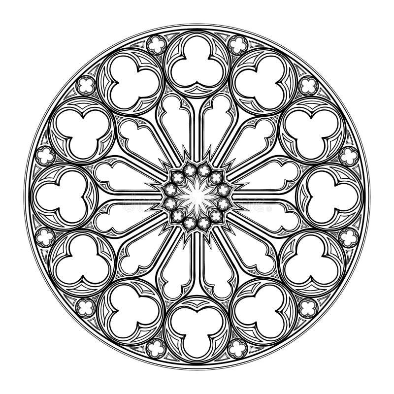 Ventana color de rosa de Gorhic Motiff arquitectónico popular en arte europeo medieval libre illustration