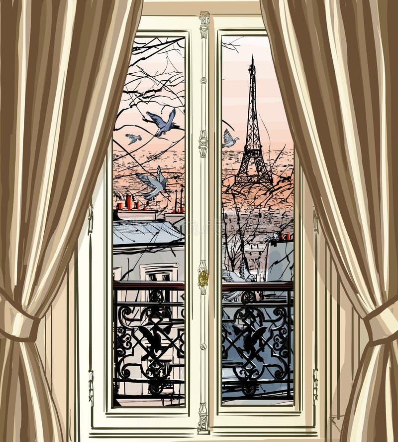 Ventana con la opinión de la torre Eiffel y de los tejados ilustración del vector