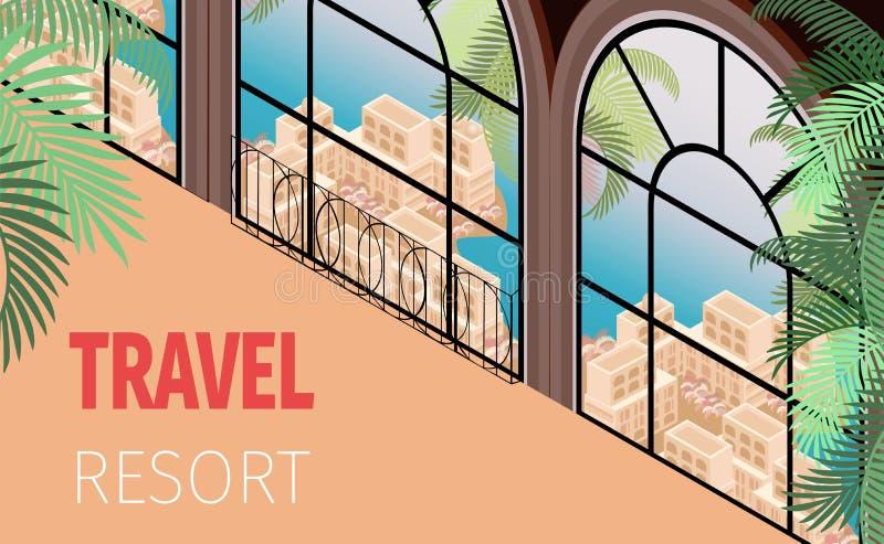 Ventana constructiva del hotel turístico con hermosa vista libre illustration