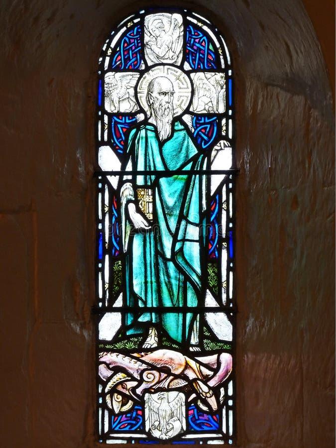 Ventana de cristal con St Andrew y la cruz fotografía de archivo libre de regalías