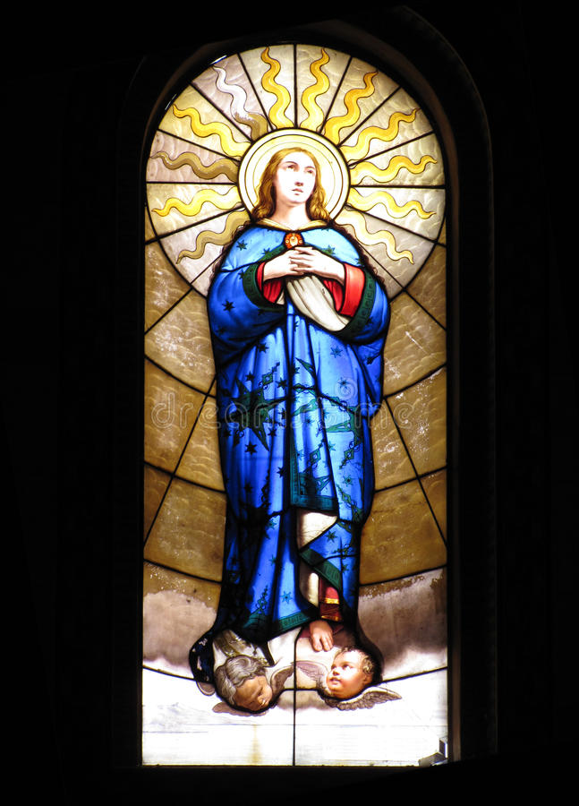 Ventana de cristal de VirginMary imágenes de archivo libres de regalías