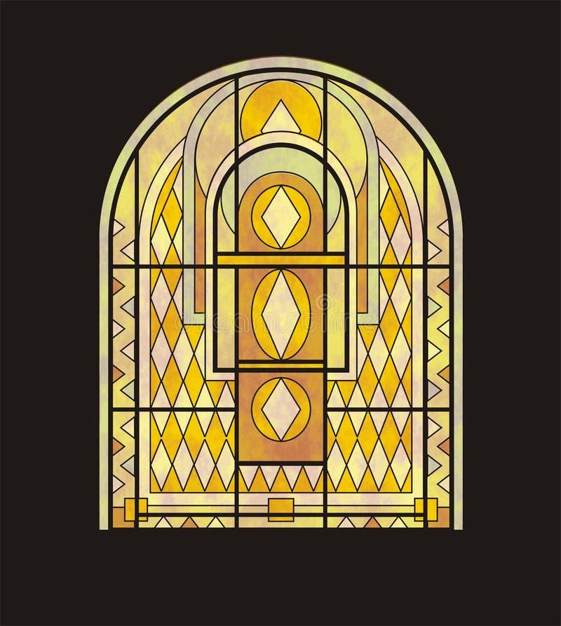 Ventana de cristal manchada para una ventana semicircular stock de ilustración