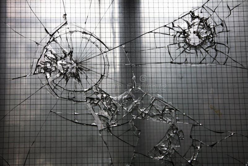 Ventana de cristal rota fotografía de archivo libre de regalías