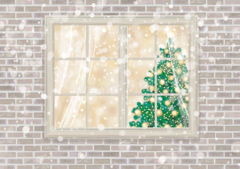 Ventana de la casa del vector con el árbol de navidad stock de ilustración