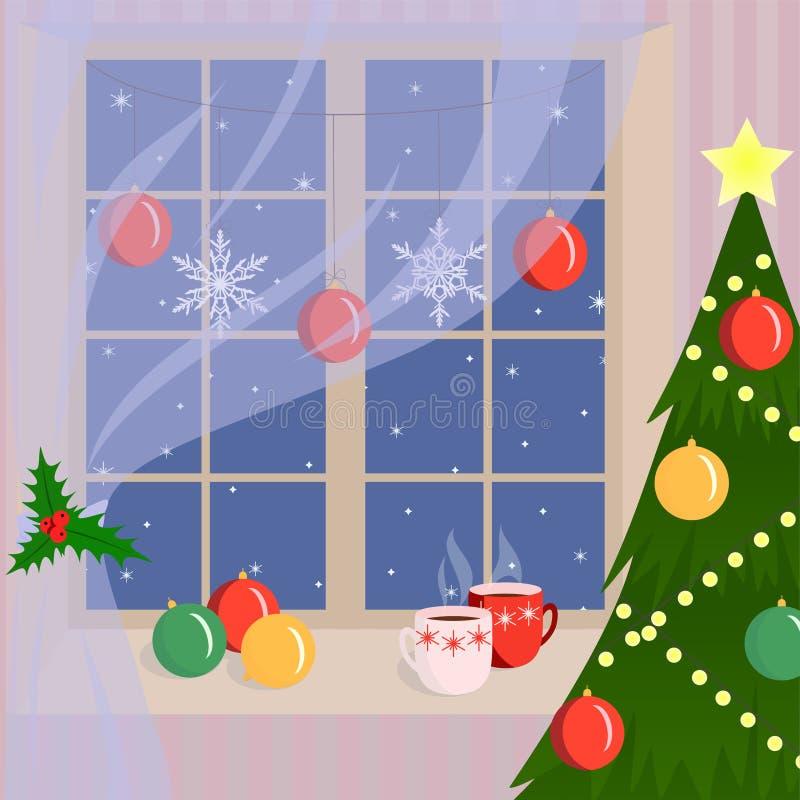 Ventana de la Navidad adornada por los copos de nieve y las bolas de la Navidad Hogar acogedor en invierno fotos de archivo