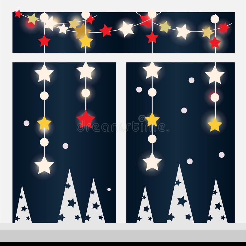 Ventana de la tarde del invierno con Año Nuevo, la guirnalda de la Navidad y las luces stock de ilustración