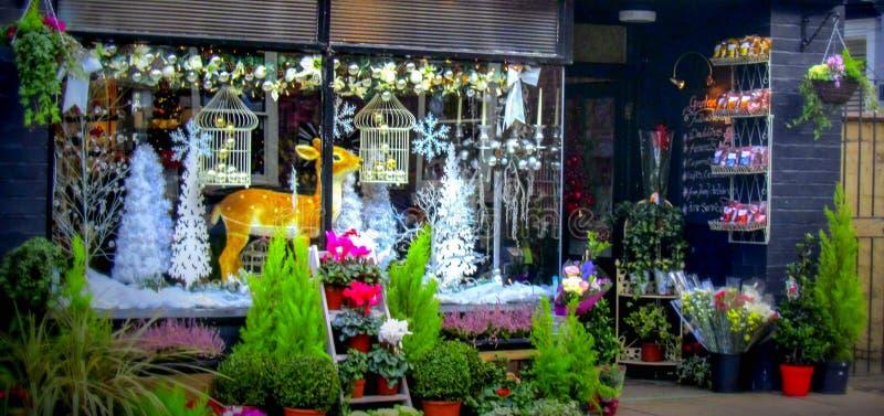 Ventana de la tienda de la Navidad en Ludlow fotografía de archivo libre de regalías