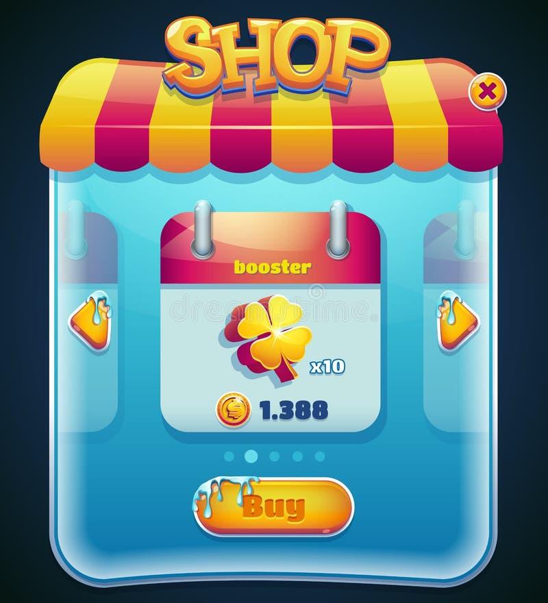 Ventana de la tienda del juego para el ordenador app stock de ilustración