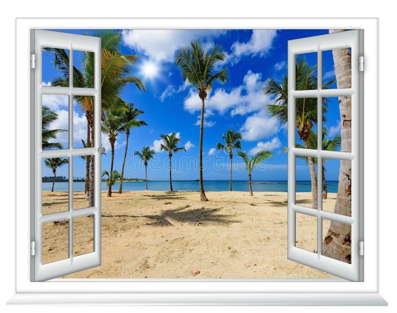 Ventana de la vista al mar fotos de archivo