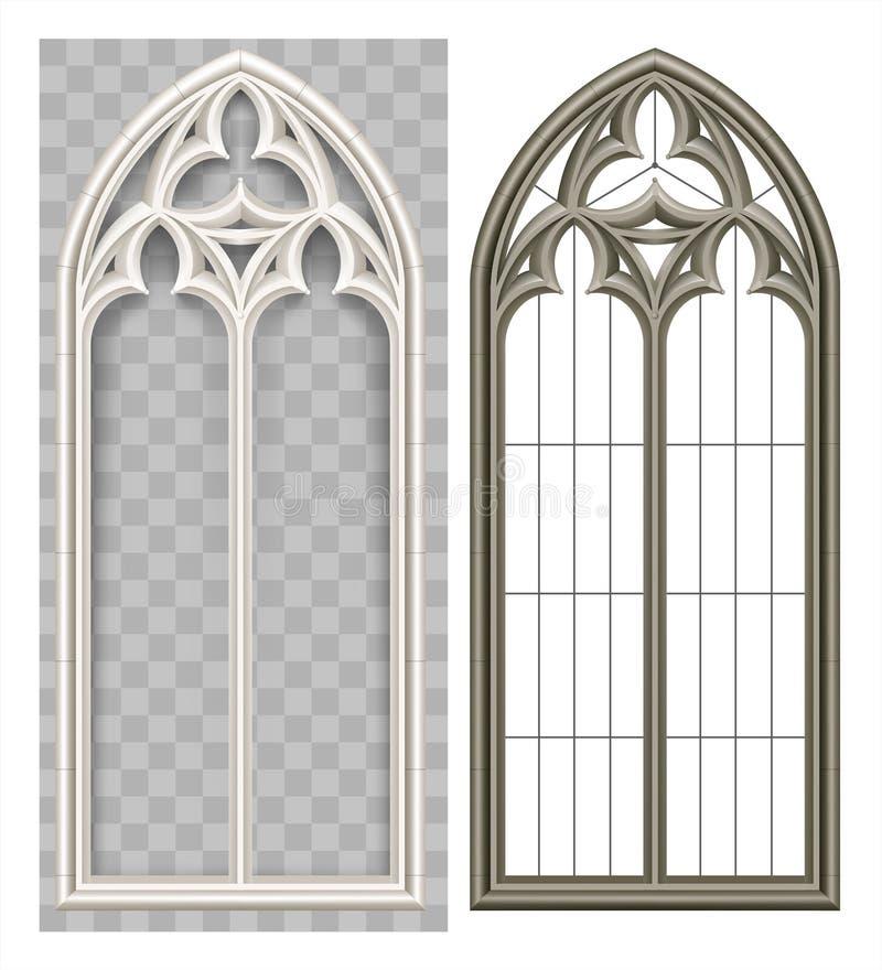Ventana de lanceta gótica medieval stock de ilustración