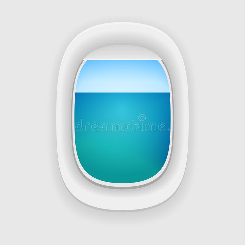 Ventana de los aviones con una opinión del mar stock de ilustración