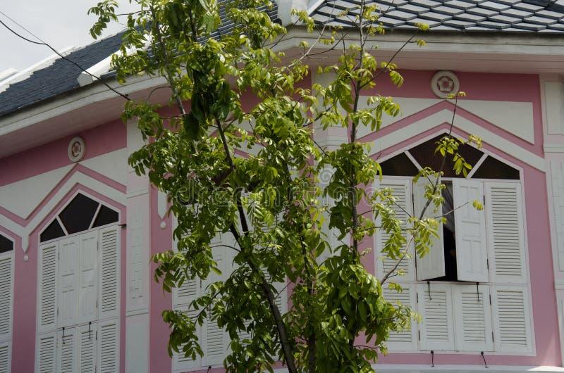 Ventana de madera blanca retra en el edificio rosado antiguo en la ciudad retra foto de archivo libre de regalías