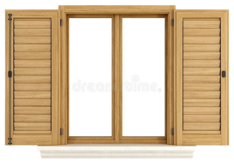 Ventana de madera con el obturador abierto stock de ilustración