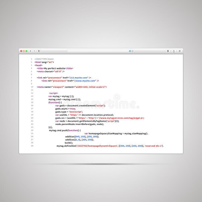 Ventana de navegador con el código simple del HTML de la página web en el fondo blanco ilustración del vector