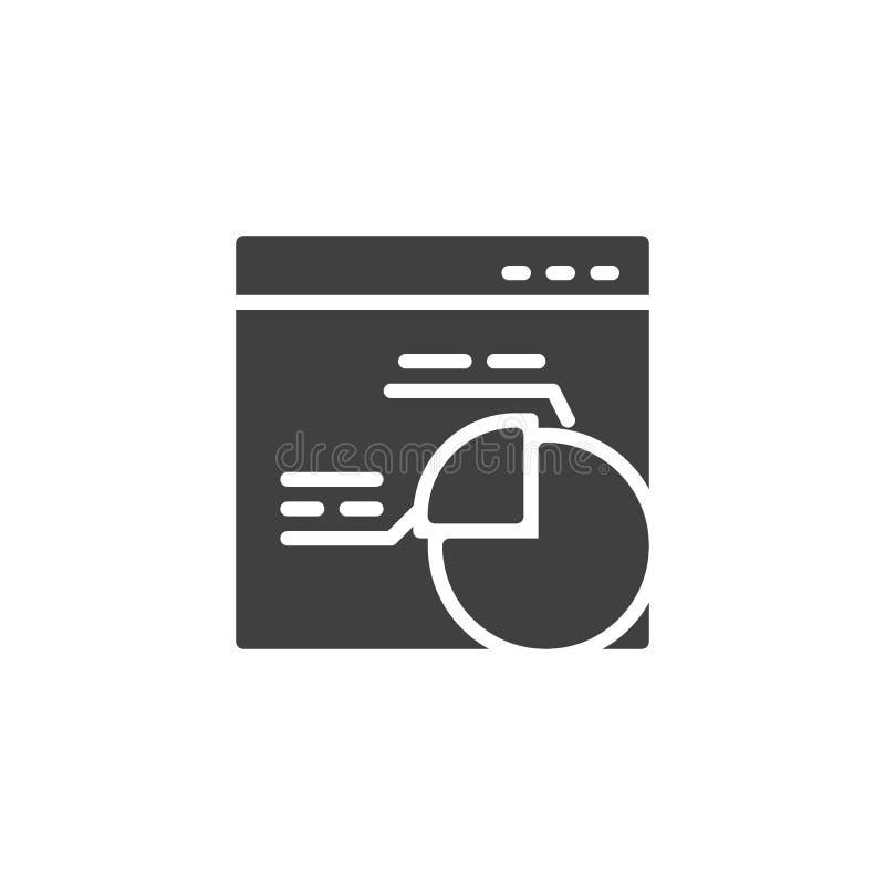Ventana de navegador con el icono del vector del gráfico de sectores stock de ilustración