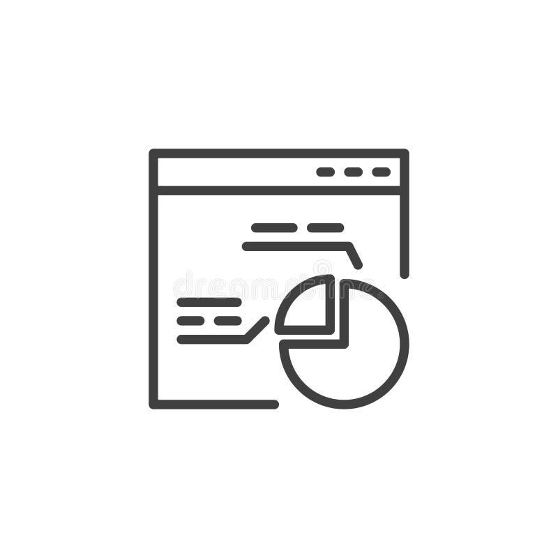Ventana de navegador con la línea icono del gráfico de sectores stock de ilustración