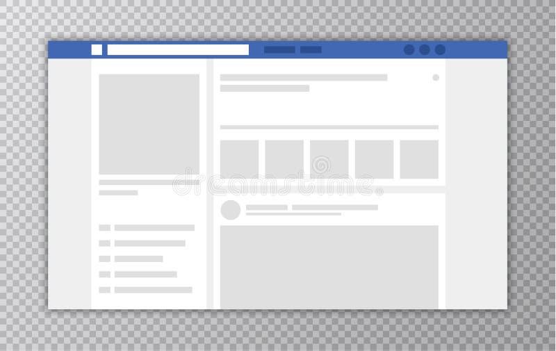 Ventana de navegador con la página web Concepto de medios plantilla social del interfaz Comentarios del usuario Ilustración del v stock de ilustración
