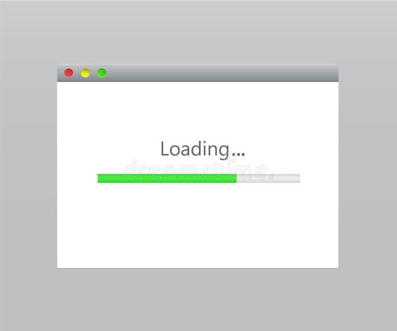 Ventana de navegador de Internet con una barra de progreso de la carga por teletratamiento y de la transferencia directa stock de ilustración