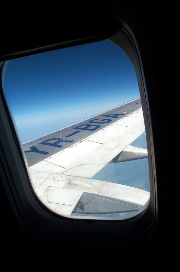 Ventana del aeroplano fotografía de archivo