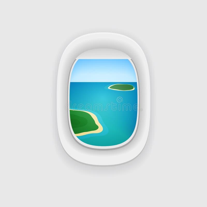 Ventana del aeroplano con vistas a un océano tropical de la isla libre illustration