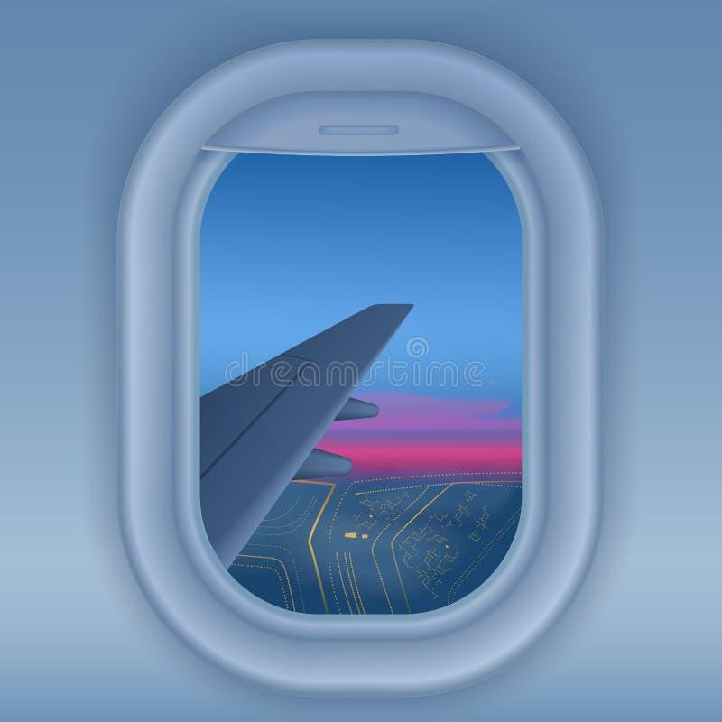 Ventana del aeroplano en la noche Ciudad de la noche de la opinión del cielo Ejemplo largo del vector del concepto del viaje del  ilustración del vector