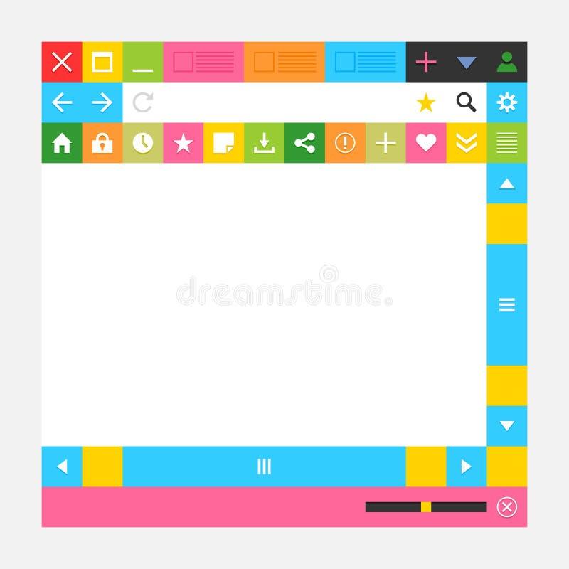 Ventana del explorador Web con los botones adicionales ilustración del vector