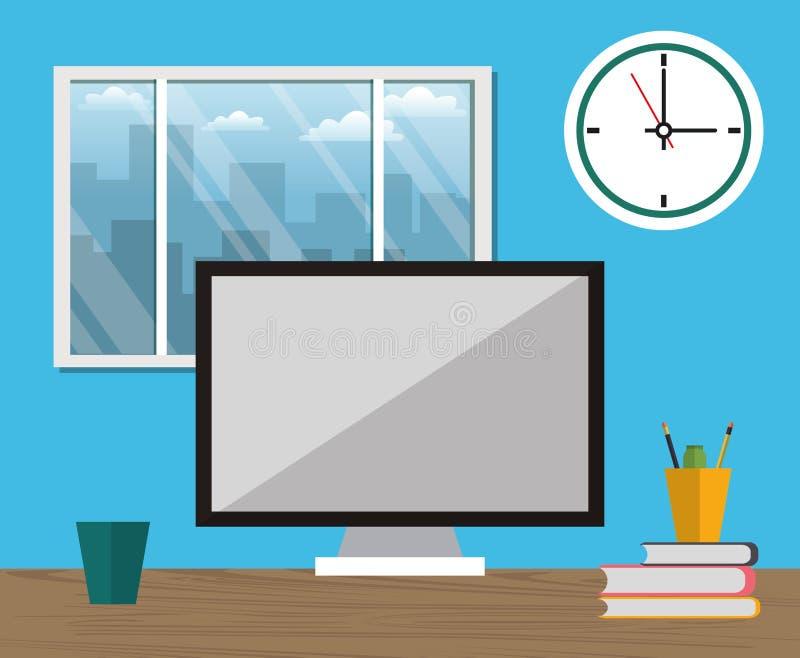Ventana del reloj del utensilio de la taza del ordenador portátil del espacio de trabajo de la oficina stock de ilustración