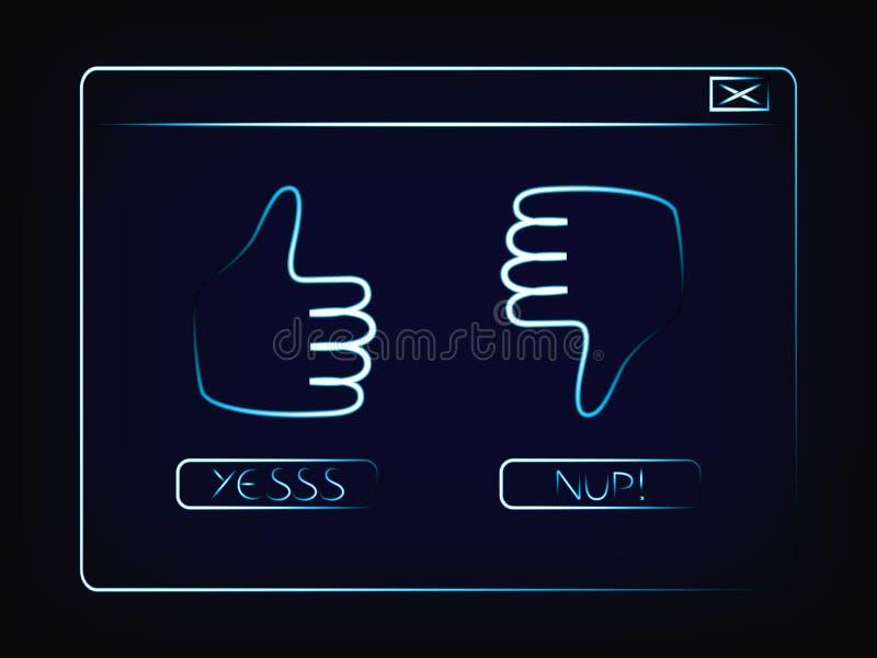 Ventana emergente con los tumbs arriba y abajo de y los botones a votar stock de ilustración