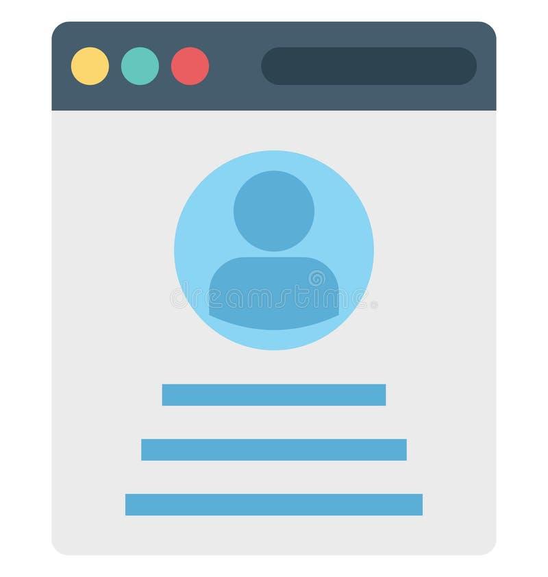 Ventana emergente del perfil, perfil de la web, iconos aislados del vector que pueden ser modificados o corregir fácilmente libre illustration