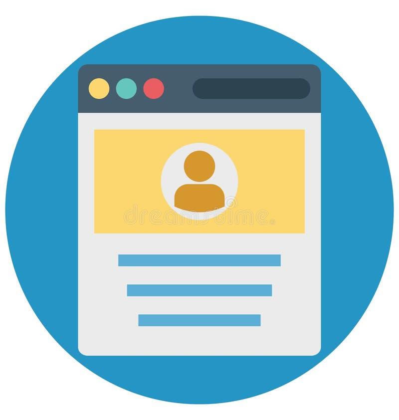 Ventana emergente del perfil, perfil de la web, iconos aislados del vector que pueden ser modificados o corregir fácilmente stock de ilustración