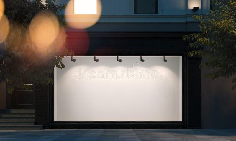 Ventana en blanco de la tienda en la calle de la noche con la luz en el marco representación 3d libre illustration