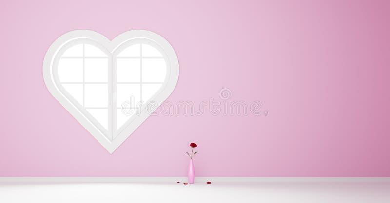 Ventana en forma de corazón ilustración del vector