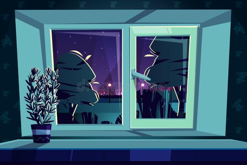 Ventana en la noche, romero del vector en travesaño stock de ilustración