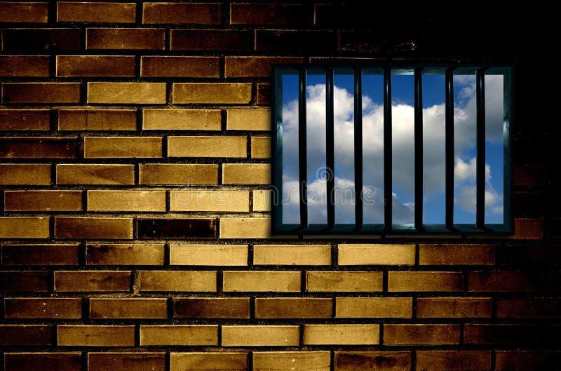 Ventana enrejada de la prisión stock de ilustración