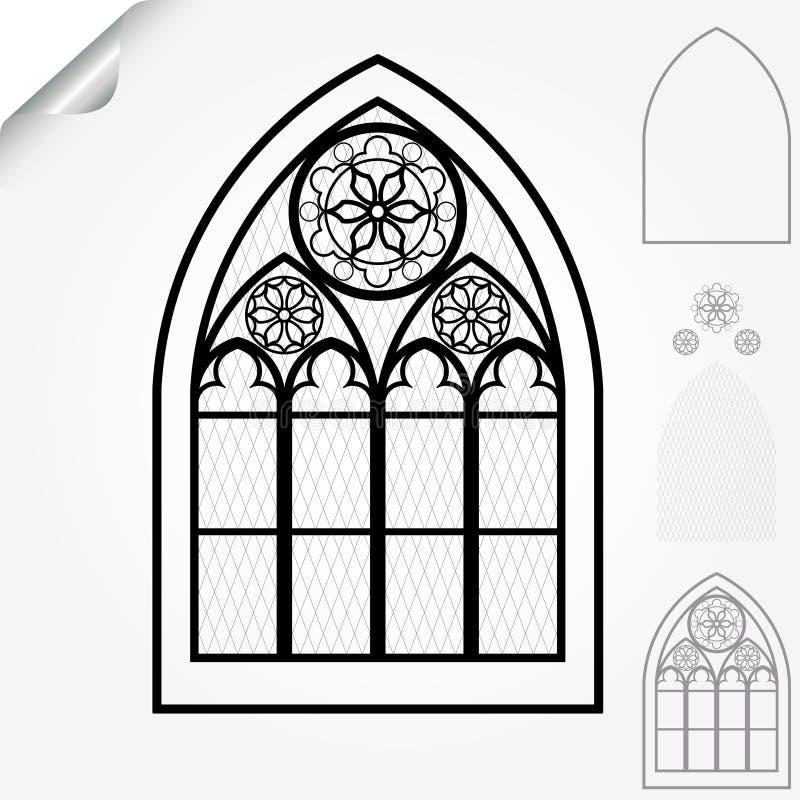 Ventana gótica stock de ilustración